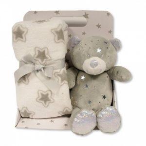 Snuggle Baby babydeken met knuffelbeer sterren 23 cm grijs set 2-delig