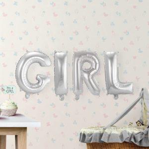 Folieballon 'Girl' Zilver - 36cm