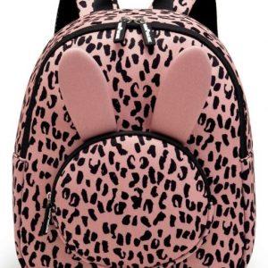 kinderrugtas / rugzak / schooltas - meisje - neopreen - bunny / konijn - pink leopard / roze luipaard panter - 36 cm