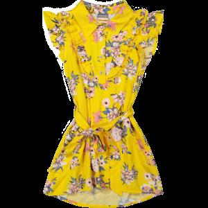 Vinrose Meisjes jurk - Geel bloemen