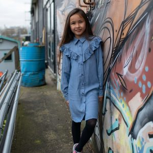Quapi Meisjes jurk - Kaja - Blauw sky
